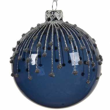 6x transparante kerstballen met strepen blauw 8 cm