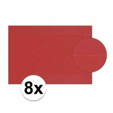8x rood gevlochten placemat van kunststof 45 x 30 cm