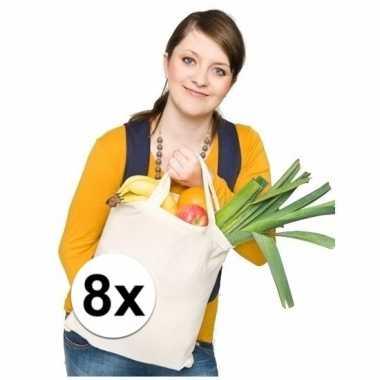 8x tassen 100% katoen korte hengsels