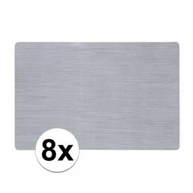 8x zilveren placemat van kunststof 43 x 28 cm
