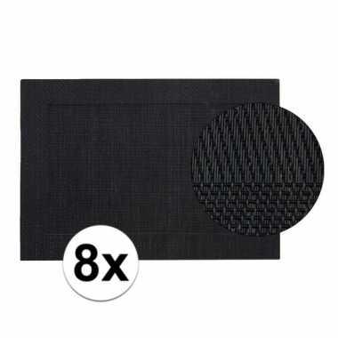 8x zwart gevlochten placemat van kunststof 45 x 30 cm