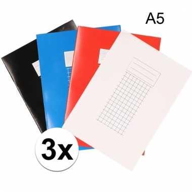 A5 schriften met ruitjes 10 mm 3x