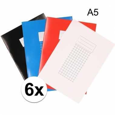 A5 schriften met ruitjes 10 mm 6x