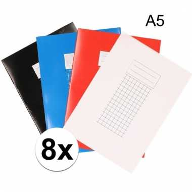 A5 schriften met ruitjes 10 mm 8x