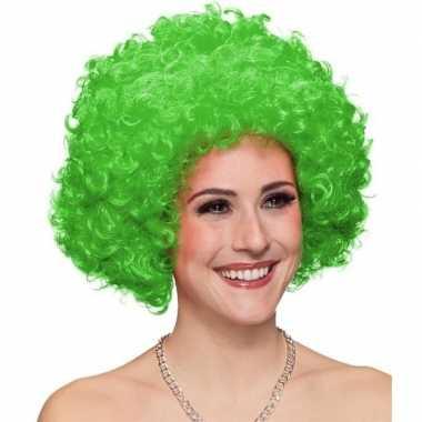 Afro pruik groen voor volwassenen