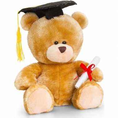Afstuderen/diploma behaald knuffel beer cadeautje 20 cm met afstudeer