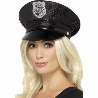 Agent pet met pailletten zwart voor dames