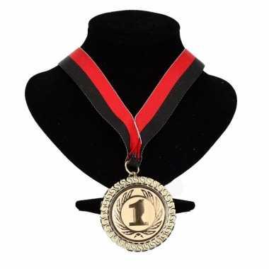 Ajax kleuren medaille nr. 1 halslint rood en zwart