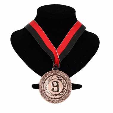 Ajax kleuren medaille nr. 3 halslint rood en zwart