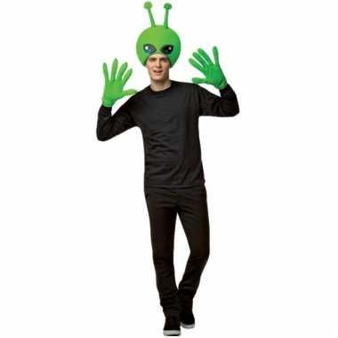 Alien verkleedset met hoed en handschoenen