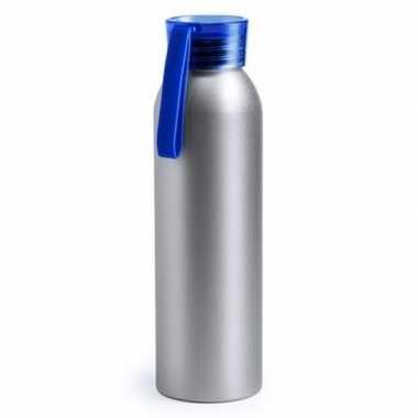 Aluminium drinkfles/waterfles met blauwe dop 650 ml