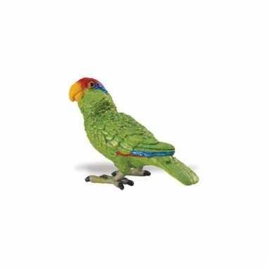 Amazone papegaai groen van plastic 7 cm