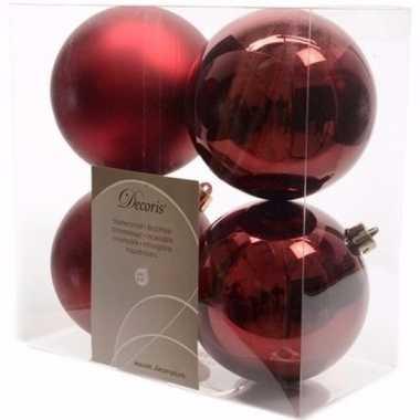 Ambiance christmas donker rode kerstversiering kerstballen pakket 4 s