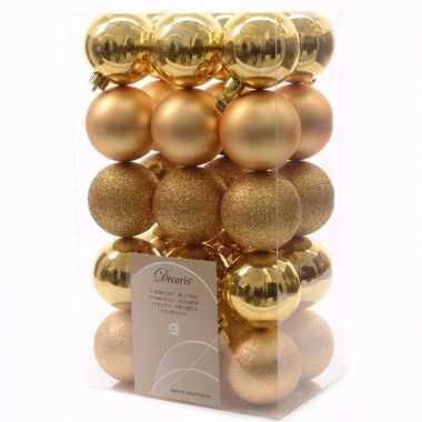 Ambiance christmas gouden kerstversiering kerstballen pakket 30 stuks