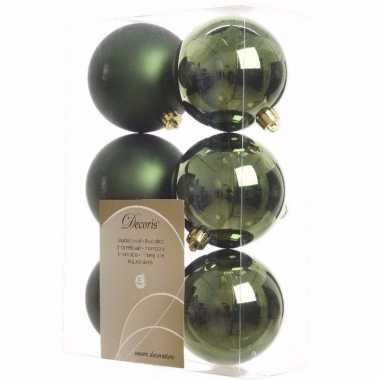 Ambiance christmas groene kerstversiering kerstballen pakket 6 stuks