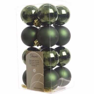 Ambiance christmas groene kerstversiering kleine kerstballen pakket 1