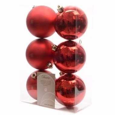 Ambiance christmas rode kerstversiering kerstballen pakket 6 stuks