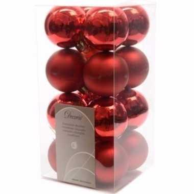 Ambiance christmas rode kerstversiering kleine kerstballen pakket 16