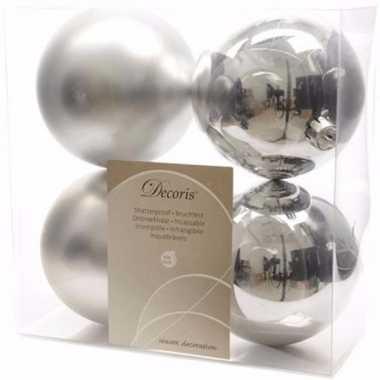 Ambiance christmas zilveren kerstversiering kerstballen pakket 4 stuk