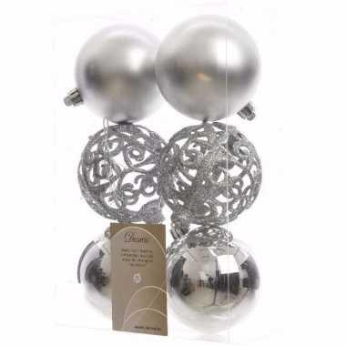 Ambiance christmas zilveren kerstversiering kerstballen pakket 6 stuk