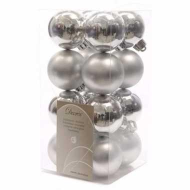 Ambiance christmas zilveren kerstversiering kleine kerstballen pakket