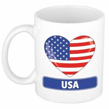 Amerikaanse vlag hart mok / beker 300 ml