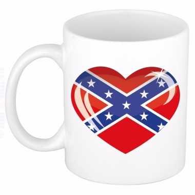 Amerikaanse zuidelijke staten vlag hart mok / beker 300 ml
