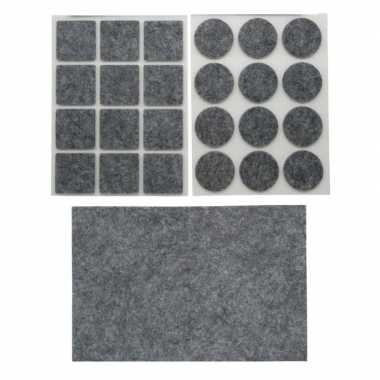 Antikras rubber/meubelvilt 25-delig grijs