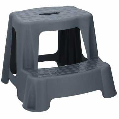Antraciet grijze huishoud trappetje/opstapje met 2 treden 35 cm