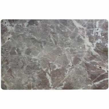 Antraciet grijze placemat marmerlook 43 x 28 cm rechthoekig