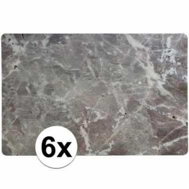 Antraciet/grijze placemats marmerlook 6 stuks rechthoekig