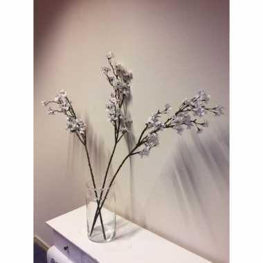 Appelbloesem kunstbloemen witte 104 cm in transparante vaas