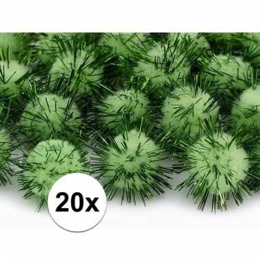 Appelgroene decoratie pompons 20 mm