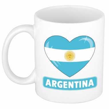 Argentijnse vlag hart mok / beker 300 ml