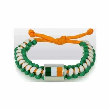 Armband wit groen oranje