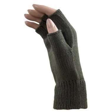 Army groene handschoenen vingerloos voor volwassenen