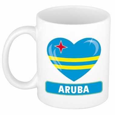 Arubaanse vlag hart mok / beker 300 ml