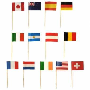 Assorti landenvlag prikkers 500 stuks