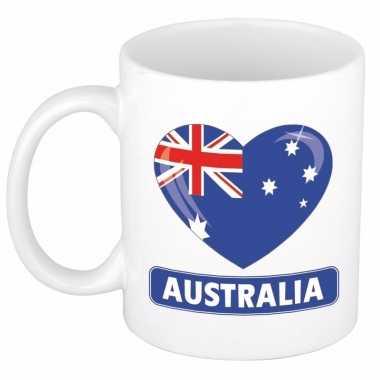 Australische vlag hart mok / beker 300 ml