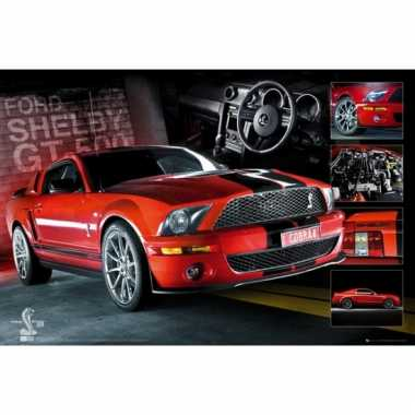 Auto poster ford mustang rood 61 x 91,5 cm