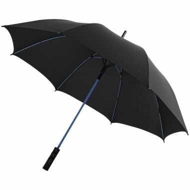 Automatische storm paraplu zwart/blauw 58 cm