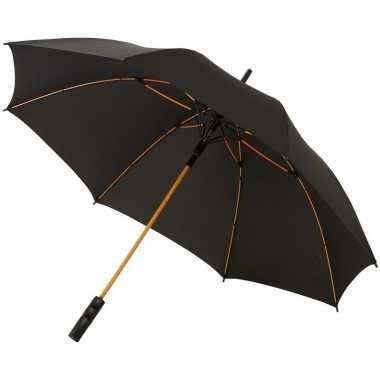 Automatische storm paraplu zwart/oranje 58 cm