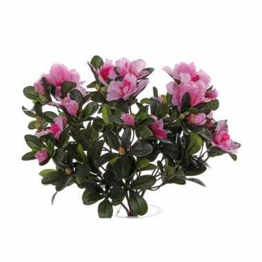 Azelea kunstbloem roze 20 cm