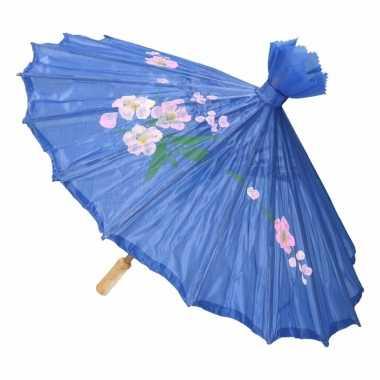 Aziatische paraplu met bloemen blauw