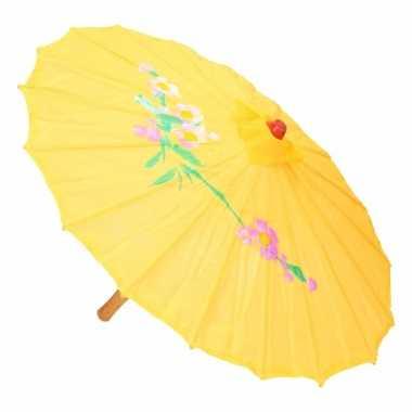 Aziatische paraplu met bloemen geel