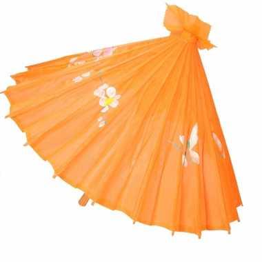 Aziatische paraplu met bloemen groot oranje