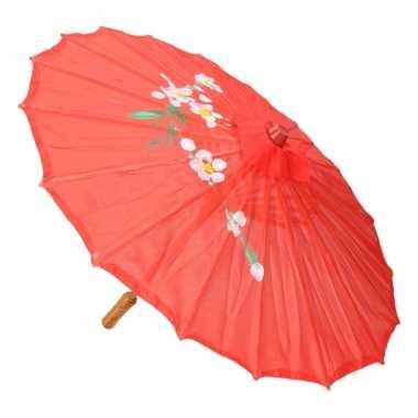 Aziatische paraplu met bloemen groot rood