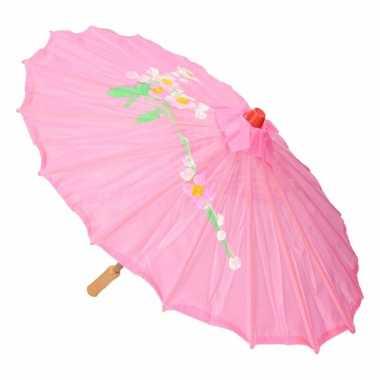 Aziatische paraplu met bloemen groot roze