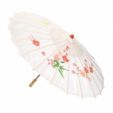 Aziatische paraplu met bloemen groot wit