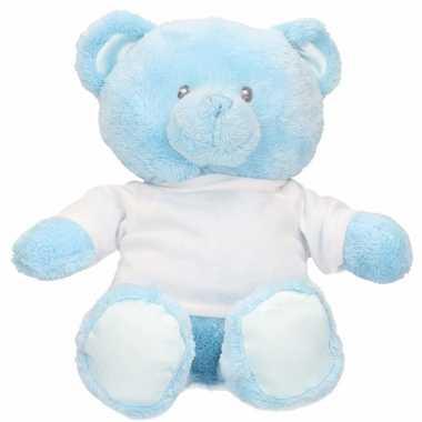 Babyshower blauwe beren knuffel 15 cm jongen geboren